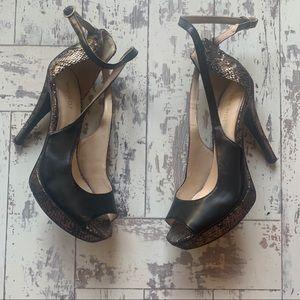 Nine West black & gold snake skin stilettos
